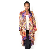 Chelsea Muse by Christopher Fink Printed Duster Jacket with Lace Insert