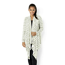 The Lisa Rinna Collection Cascading Front Printed Cardigan