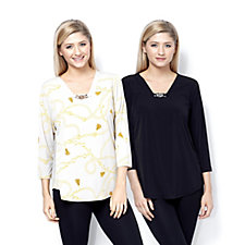 Printed & Plain Pack of 2 Tops with Chain Detail by Susan Graver