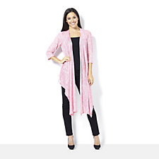 160767 - Chelsea Muse by Christopher Fink Drape Front Textured Knit Cardigan
