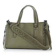 Aimee Kestenberg Lennox Pebble Leather Suede Satchel with Shoulder Strap