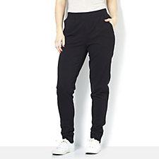 Denim & Co. Rib Trim Zip Cuff Detail Jogger Trouser