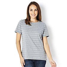 Denim & Co. Printed Round Neck Short Sleeve Top