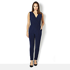 Slim Leg Jumpsuit with Collar by Nina Leonard