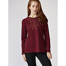 Denim & Co. Long Sleeve Round Neck Top with Embroidered Neckline