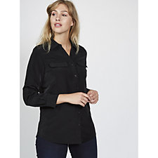 Denim & Co. Roll Tab Sleeve Button Front Utility Tunic