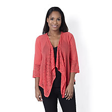 Knitwear by Etoile Pointelle Front Waterfall Cardigan