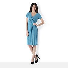 Tiana B Mock Wrap Dress with Pleated Skirt