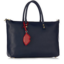 Lulu Guinness Frances Soft Grain Leather Tote Bag with Detachable Strap