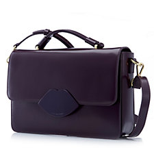 Lulu Guinness Large Edie Polished Leather Satchel Bag with Detachable Strap