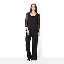 Attitudes by Renee 3/4 Sleeve Lace Overlay Jumpsuit