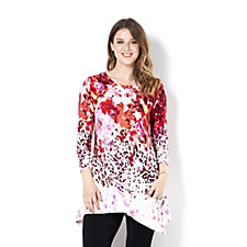158568 - LOGO by Lori Goldstein Floral and Animal Print Knit Top
