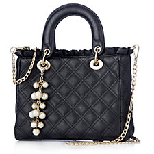 Frank Usher Quilted Medium Bag with Detachable Faux Pearl Charm
