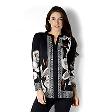Printed Liquid Knit Long Sleeve Tunic by Susan Graver