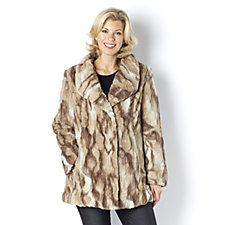 162568 - Dennis Basso Chinchilla Faux Fur Drape Collar Coat