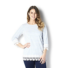 Denim & Co. Striped Round Neck 3/4 Sleeve Top with Lace Trim