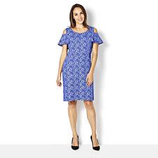 Flutter Sleeve Cold Shoulder Jacquard Dress by Nina Leonard