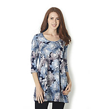 Kim & Co Brazil Knit Floral Haze 3/4 Sleeve Scoop Neck Tunic