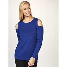 Denim & Co. Cold Shoulder Round Neck Jumper with Bracelet Sleeves