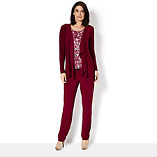 Set of 3 Cardigan, Top & Trousers by Nina Leonard