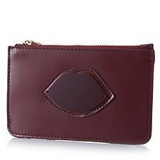 Lulu Guinness Polished Leather Small Zip Pouch In Gift Box