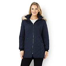Centigrade Quilted Lightweight Coat with Faux Fur Trim Hood