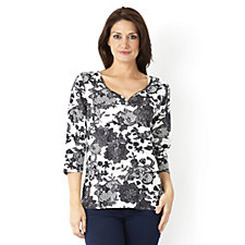 Artscapes Bruges Lace 3/4 Sleeve Y Button Front Neck Top