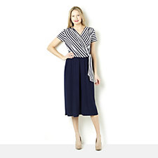 Tiana B Jersey Stripe Mock Wrap Culottes Jumpsuit