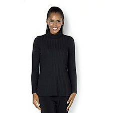 Kim & Co Rib Knit Long Sleeve Polo Neck Top