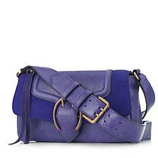Aimee Kestenberg Jordy Pebble Leather Suede Flapover Crossbody Bag
