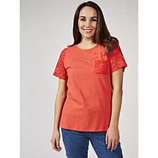 Denim & Co. Round Neck Short Sleeve Lace Detail Top with Pockets