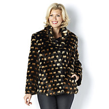 162569 - Dennis Basso Faux Fur Stand Collar Short Coat