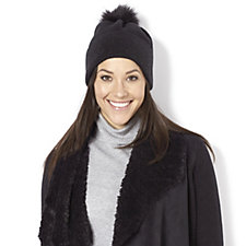 Frank Usher Knitted Hat with Detachable Pom Pom