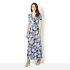 Kim & Co Brazil Knit Floral Haze Cap Ruched Sleeve Maxi Dress