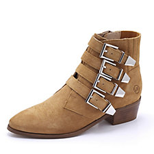 Bronx Buckle Studded Suede Ankle Boots