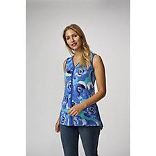 Sleeveless V Neck Printed Tunic with Hi Lo Hem by Nina Leonard
