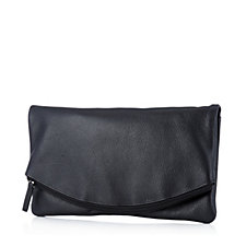 Amanda Lamb Soft Leather Foldover Clutch with Detatchable Crossbody Strap
