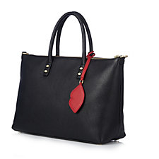 Lulu Guinness Frances Medium Lip Zip Leather Tote Bag with Detachable Strap