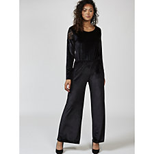 Christopher Fink Lace Shoulder Velvet Wide Leg Jumpsuit