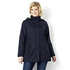 Dennis Basso Water Resistant Lightweight Coat w/ Print Lining & Detachable Hood