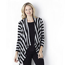 Antthony Designs 2 Piece Stripe Waterfall Cardigan & Plain Top Set