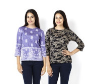 Artscapes Pack of 2 100% Cotton Print Tops with 3/4 Length Sleeves