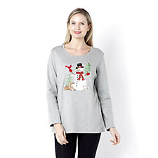 Quacker Factory Winter Bliss Long Sleeve T-Shirt