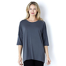 Join Clothes Jersey Scoop Neck Top with Grown On Sleeve