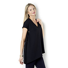 Jeanne Beker Asymmetrical Sleeve and Hem Top