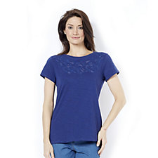 C. Wonder Short Sleeve T-Shirt with Embroidered Cut-Out Yoke