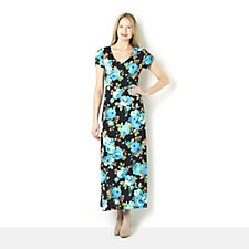 Tiana B Short Sleeve Jersey Floral Print Maxi Dress
