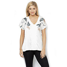 Betty & Co Printed V Neck Short Sleeved Top