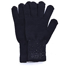 Frank Usher Knitted Crystal Embellished Gloves