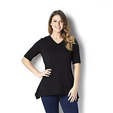 Denim & Co. Elbow Sleeve V-Neck Trapeze Top with Seam Detail